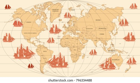 Hand drawn vector world map with sailing ships in vintage style.