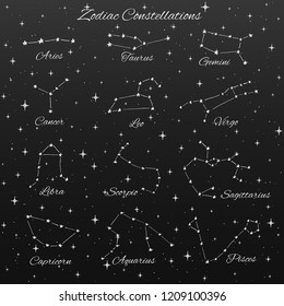 Hand drawn vector zodiac constellations set of 12 signs: aries, taurus, gemini, cancer, leo, virgo, libra, scorpio, sagittarius, capricorn, aquarius and pisces  isolated on the dark background.