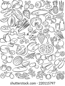 Hand drawn vectors of food collection in line art mode