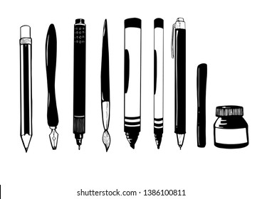 Hand drawn vectors of a pencil, fountain pen, paint brush, pen, technical pencil, ink, drawing pen and permanent markers. The things every artist needs in life!
