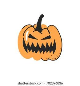 Hand drawn vegetable. Vector artistic drawing food. Halloween illustration pumpkin