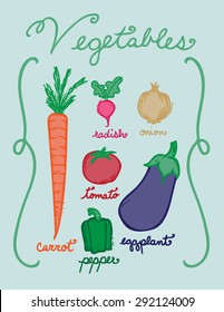 Hand drawn vegetables in color.  Includes carrot, radish, onion, tomato, pepper, and eggplant as well as hand written names.