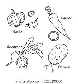 Hand drawn vegetables icons set vector illustration for your design. Isolated on white background.
