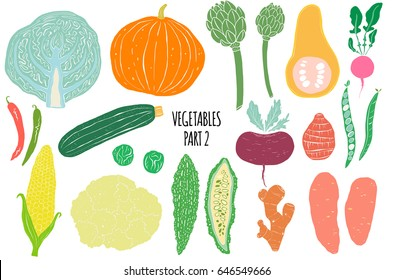 Hand drawn vegetables  isolated on white background in unique trendy organic style. Vector illustration for menu design, packaging, cooking book.