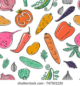 Hand drawn vegetables isolated on white background in unique trendy organic style. Seamless patter. Vector illustration for menu background, textile, paper.