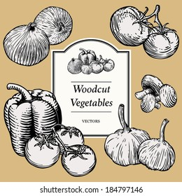 Hand Drawn Vegetables in a Woodcut Style (all vegetables are isolated and can be separated and rearranged as necessary)