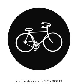 Hand drawn vehicle vector illustration. White silhouetted figure of road bicycle isolated on white background. Bike riding art. Perfect for icon or logo.