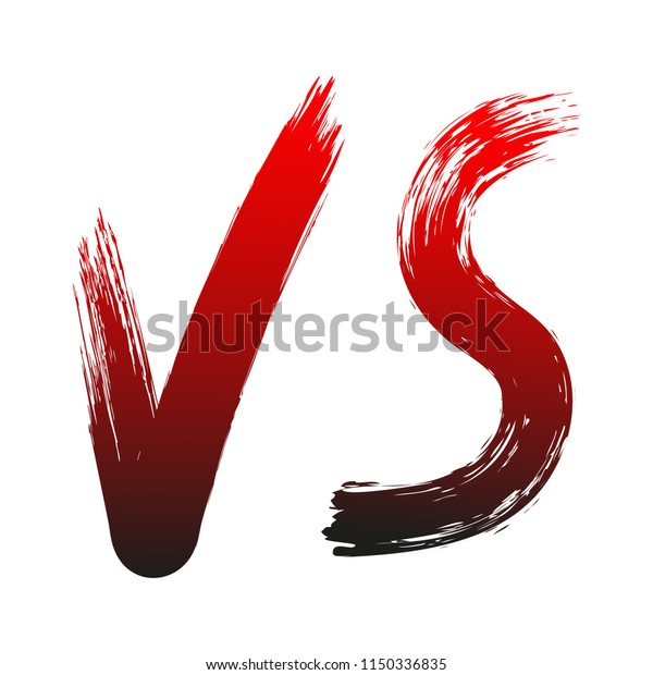 Hand Drawn Versus Sign On White Stock Vector Royalty Free 1150336835