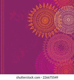 Hand drawn vertical seamless border in indian style.  All objects are conveniently grouped  and are easily editable.