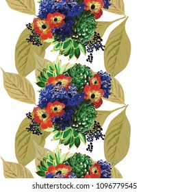 Hand drawn  vertical seamless pattern vector of leaves,anemonas,suculents and blue hyacinths