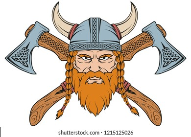 Hand drawn of a viking in a helmet