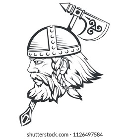 Hand drawn of a viking in a helmet. Scandinavian traditional weapons. Cartoon bearded man character. Viking tattoo. Traditional norse ornament. Norse mythology. Vector graphics to design
