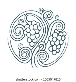 Hand drawn vineyard, grape vine and grape illustration.  Bunch of grapes vector design element. Grape and vine logo and background.