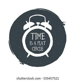 Hand drawn vintage alarm clock. Sketch style. Vector illustration. T-shirt print. Poster. Logo. Hipster. Lettering.