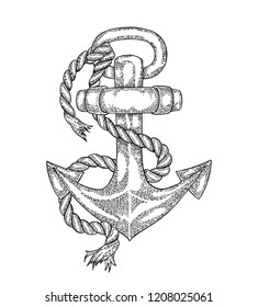 Hand drawn vintage anchor. Black and white graphic design. Vector engraved illustration.