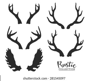 Hand drawn vintage antlers. Rustic decorative vector design elements.