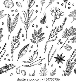 Hand drawn vintage background - herbs and spices. Vector seamless pattern. Organic drug plants. Botanical illustrations.