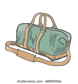 Hand drawn vintage bag. Sketch style. T-shirt print. Poster. Logo. Hipster. Retro badge. Journey. Tour. Trip. Voyage. Travelling.