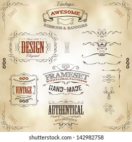 Hand Drawn Vintage Banners And Ribbons/ Illustration of a set of hand drawn frames, sketched banners, floral patterns, ribbons, and graphic design elements on vintage leather or old paper background