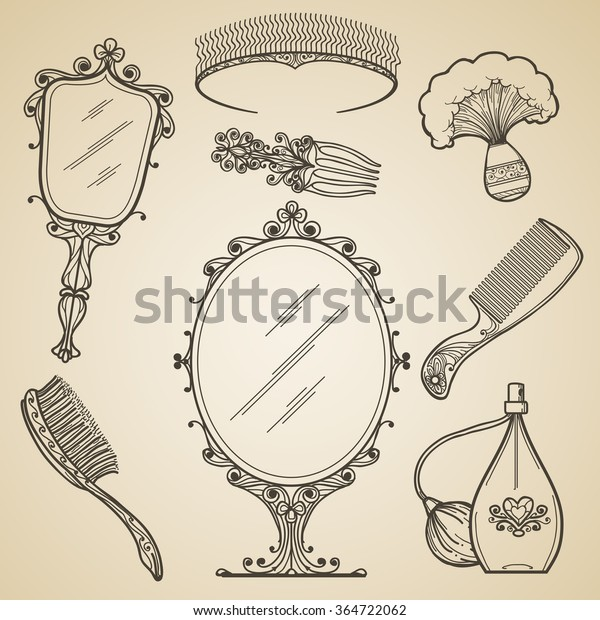 Hand Drawn Vintage Beauty Retro Makeup Stock Vector (Royalty