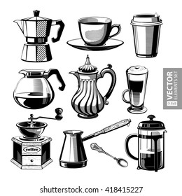 Hand drawn vintage black coffee theme illustrations isolated on white background. RGB EPS 10 vector elements set