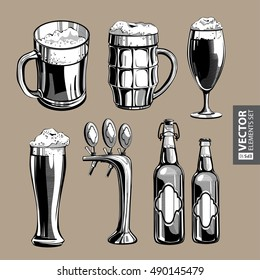 Hand drawn vintage black and white modern beer theme illustrations isolated on beige background. RGB EPS 10 vector elements set