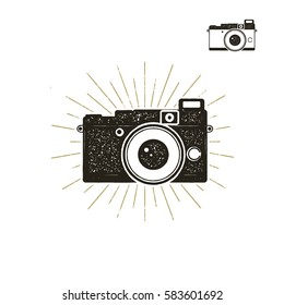 Hand drawn vintage camera label with sunbursts. Old style camera icon isolated on white background. Good for tee shirt, clothing prints, mugs, travel pennant designs. Stock camera vector icon