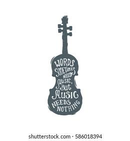 Hand drawn vintage cello. Sketch style. Vector illustration. T-shirt print. Poster. Logo. Hipster. Retro badge. Emblem. Music. Lettering. Violin.