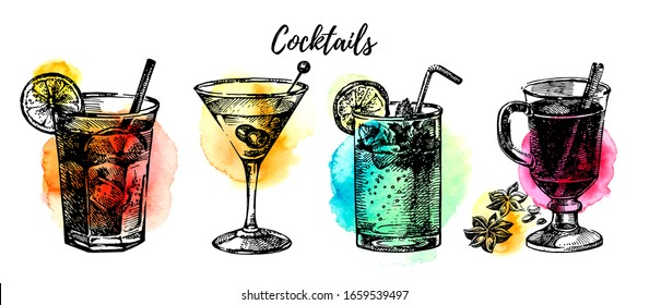 Hand drawn vintage cocktails set. Sketch retro drinks vector illustration isolated on white background