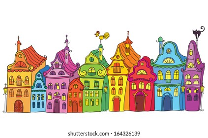 Hand drawn vintage colorful homes. Old town