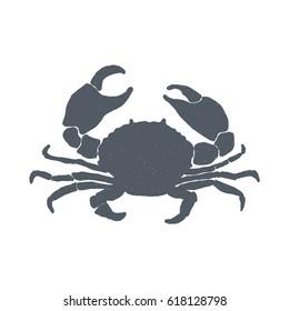 Hand drawn vintage crab. Sketch style. Vector illustration. T-shirt print. Logo element. Seafood.