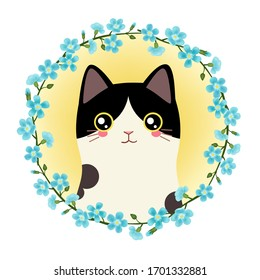 Hand drawn vintage cute cat wreath avatar vector illustration, forget-me-not flower wreath, yellow background, pet avatar, black and white kitten, packaging, printable