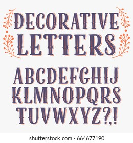 Hand drawn vintage decorative vector ABC letters set with floral ornament. Stylish font for your design.