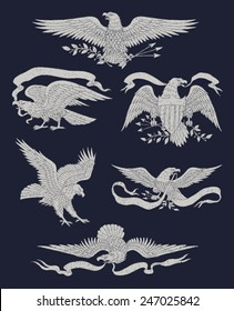 Hand Drawn Vintage Eagle Vector Set