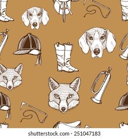 Hand drawn vintage English traditional foxhunting seamless pattern. Foxhound, fox, riding boots, riding hat, saddle, riding whip, hunting horn