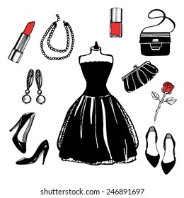 5ed09c81 hand drawn vintage fashion set. Little black dress, earrings, pearl  necklace, shoes