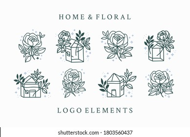 Hand drawn vintage feminine beauty logo element collection with rose, home, flower, leaf, branch, and frame. Vector illustration for icon, logo, sticker, printable, and tattoo