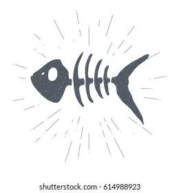 Hand drawn vintage fish skeleton. Sketch style. Vector illustration. T-shirt print. Poster. Logo. Hipster. Retro badge.