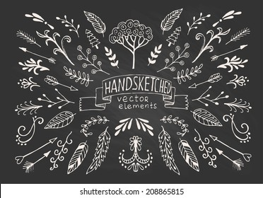 Hand Drawn vintage floral elements. Set of flowers, arrows, icons and decorative elements.