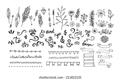 Hand Drawn vintage floral elements. Swirls, arrows, leaves, feathers, dividers, branches, banners and curls. Vector. Isolated.