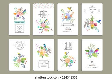 Hand Drawn vintage floral elements. Set of 8 cards with flowers and birds plus decorative elements.