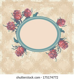 Hand drawn vintage frame with roses. All objects are located on separate layers