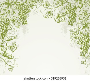Hand drawn Vintage grapevine corner background isolated on textured paper