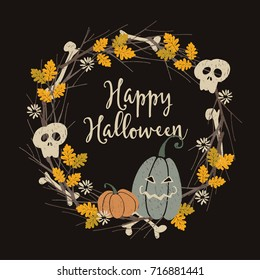 Hand drawn vintage Halloween party greeting card, invitation with floral wreath made of jack-o- lantern pumpkins, human skull, bones, oak leaves and branches. Artistic vector illustration background.