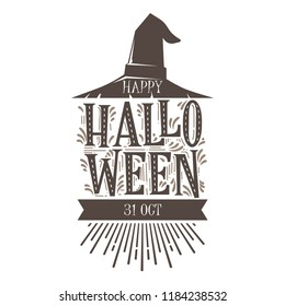 Hand drawn vintage happy halloween lettering with sketch, halloween greeting vector template