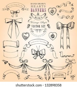 Hand Drawn Vintage Hearts, Banners and Bows Vector Set