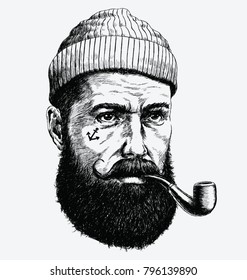 Hand Drawn vintage hipster sailor with thick beard and pipe