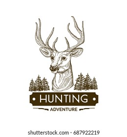 Hand drawn vintage hunting badge.Typography.
