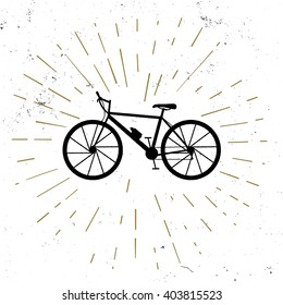 Hand drawn vintage icon with retro bicycle, grunge style , vector illustration