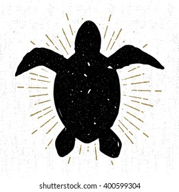 Hand drawn vintage icon with a textured sea turtle vector illustration.